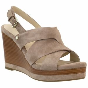 NEW Cole Haan Taupe Suede Laci Platform Wedge 8